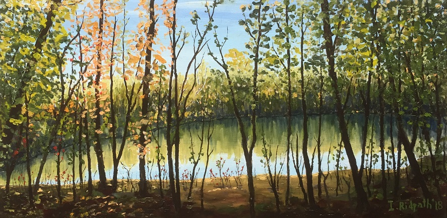 Along the Riverbank - 24 x 12 oil on board by J. Ian Ridpath - completed April 2018