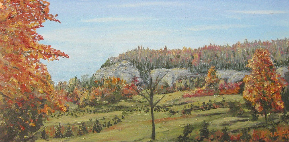 Escarpment3 - 15 x 30 oil by J. Ian Ridpath - completed October 2013